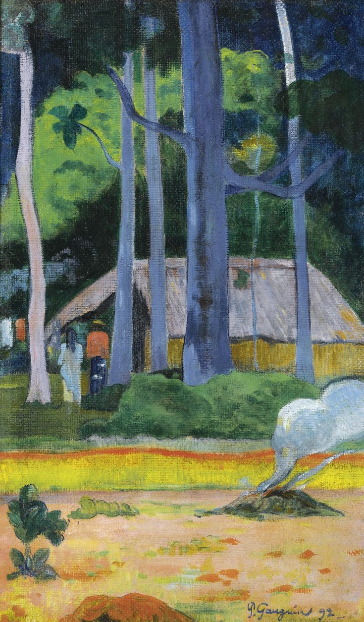 Eugène Henri Paul Gauguin (1848-1903) CABANE SOUS LES ARBRES Signed P. Gauguin and dated 92 (lower right) Oil on canvas 28 1/2 by 17 1/8 in. (72.4 by 43.5 cm) Painted in 1892. Sotheby's