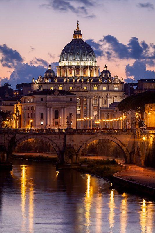 Twilight, St Peter's Basilica, Vatican, Rome, Italy