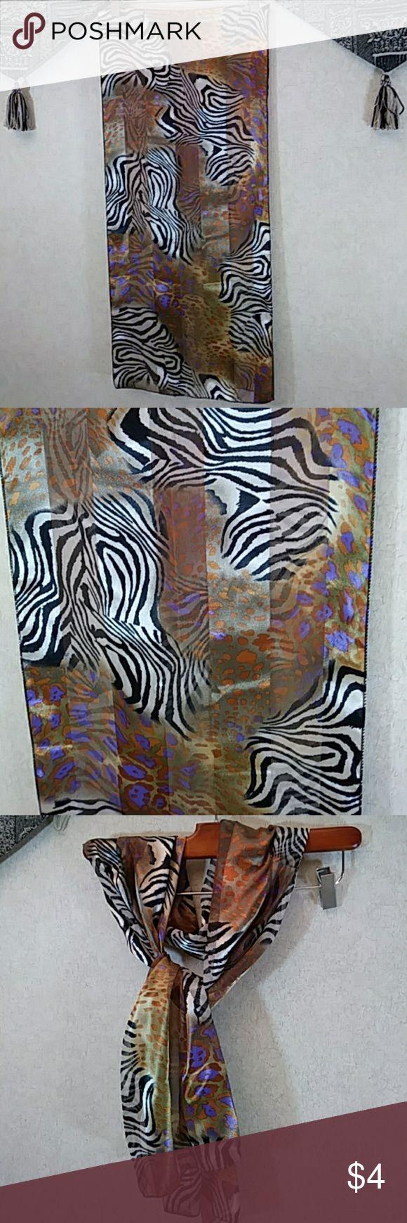 "Zebra print scarf So versatile! Black, cream, gold, purple, burnt orange. 100% polyester. 13"" x 60"" Accessories Scarves & Wraps"