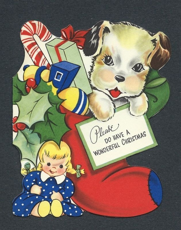 '50s Puppy Candy Cane in Stocking, Doll Vtg. Die-cut Christmas Card