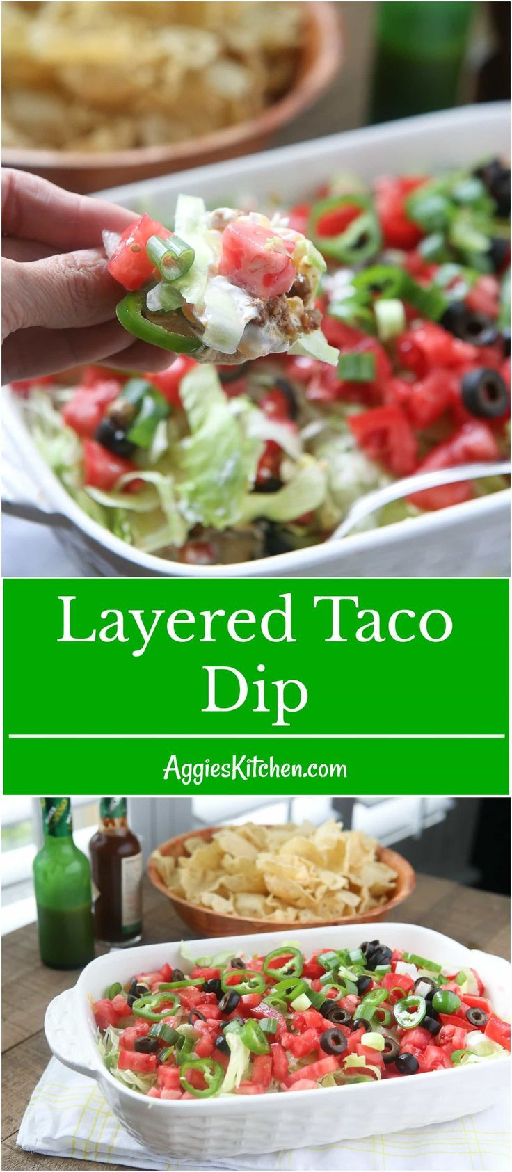 This Layered Taco Dip isfull of all the ingredients that we love in our tacos, but in dip form. Great to serve while entertaining family and friends! #UndeniablyDairy @DairyGood #ad via @aggieskitchen