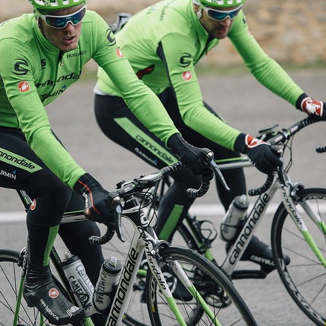 From cannondalepro - Dylan van Baarle and Alan Marangonie looking good in green at Garmin-Cannondale team camp. in Mallorca. Chris Milliman providing the unique perspective.