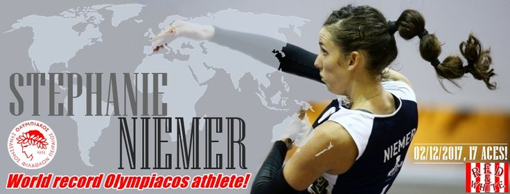 Παγκόσμιο ρεκόρ της αθλήτριας Νιέμερ του Θρύλου, του μεγαλύτερου συλλόγου του κόσμου!  Πρώτη φορά αθλήτρια στη Γη πετυχαίνει 17 άσους σε έναν αγώνα!  Απλά περηφάνια!  Θρύλος παντού! #Red_White #Stephanie_Niemer #World_Record #Olympiacos #VolleyBall