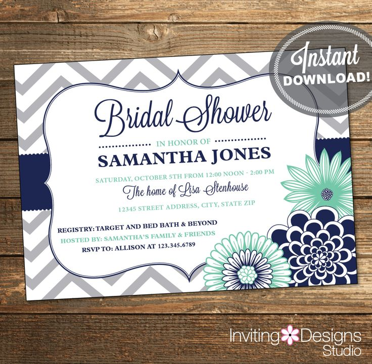Chevron Bridal Shower Invitation / Wedding Shower / Navy Blue and Mint Flowers / Printable File INSTANT DOWNLOAD #IDS1034 by InvitingDesignStudio on Etsy