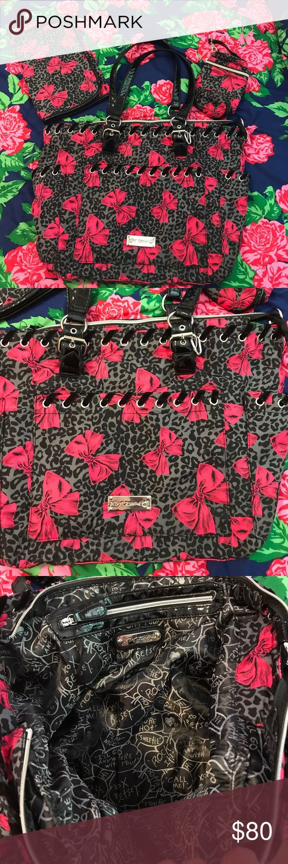 Betsey Johnson diaper bag with accessories Fun Betsey Johnson diaper bag. Tons of pockets; key hook for car keys; insulated pouch; folding diaper change pad. Don't have babies but love the bag?... use for picknicks, beach days, or jazz on the lawn. Turn the diaper change pad into a small seat to protect the seat of your pants 😊 Betsey Johnson Bags Baby Bags