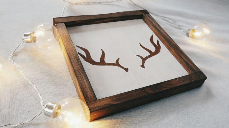 Antlers | Rustic wooden sign | Woodland | Poroże | styl rustykalny | drewniane dekoracje
