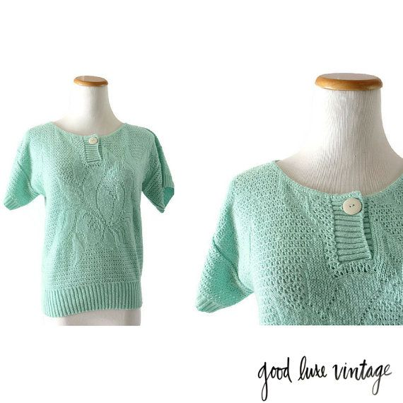 Mint Green Shirt Mint Blouse Pastel Green Top Cropped Top Vintage 80s Blouse Crop Sweater Candy Colored Top Kawaii Hipster Small Medium