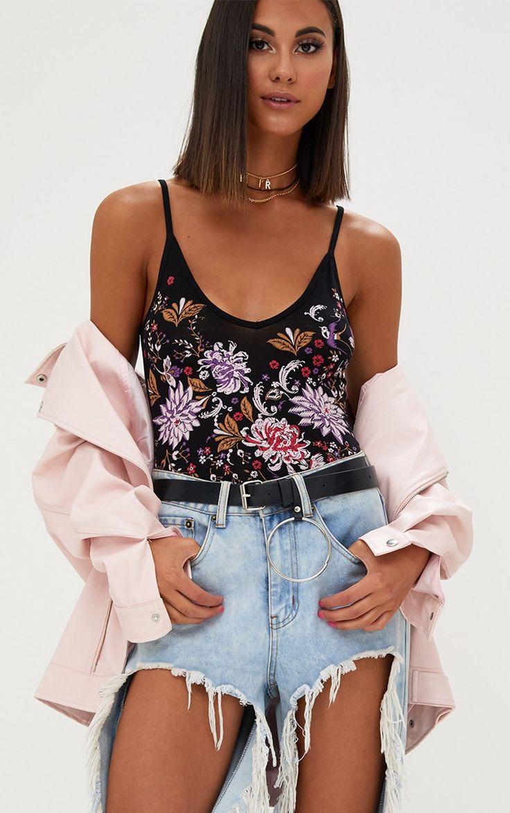 Black Floral Puff Print V Neck Thong Bodysuit