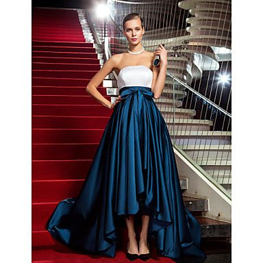 TS Couture Military Ball / Formal Evening Dress - Multi-color Plus Sizes / Petite A-line / Princess Strapless Asymmetrical Satin – USD $ 99.99