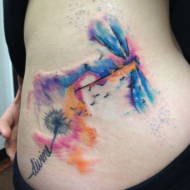 Watercolor Tattoos by Joel Wright - Dragonfly Watercolor Tattoo
