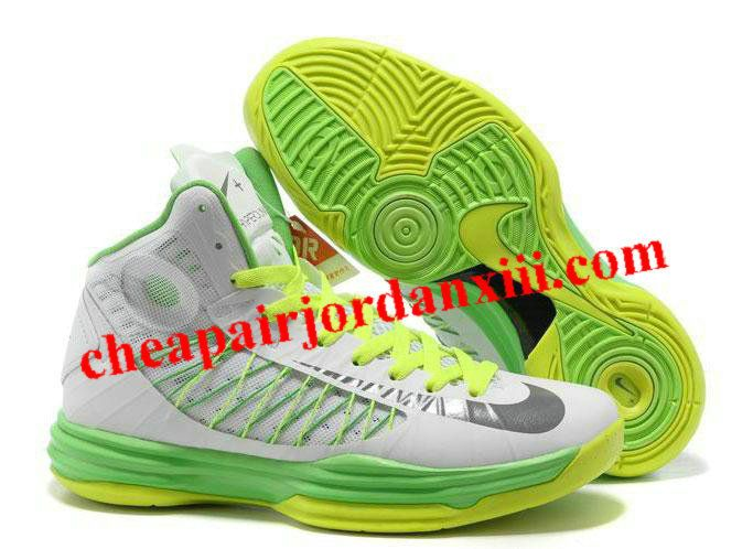 Nike Lunar Hyperdunk 2013 Summit White Wolf Grey Electric Green Mens  Basketball Shoes