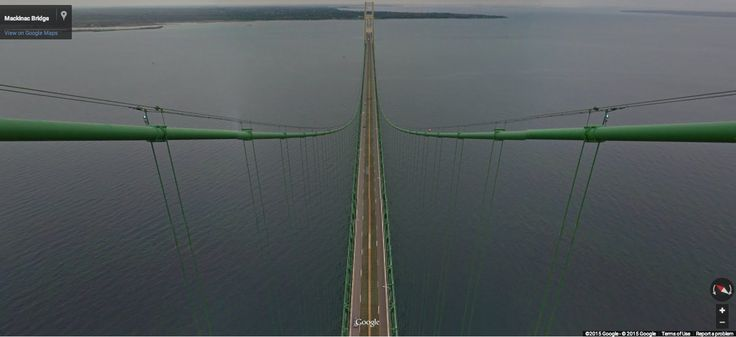 Top of the Mackinac Bridge on Google Maps Street View
