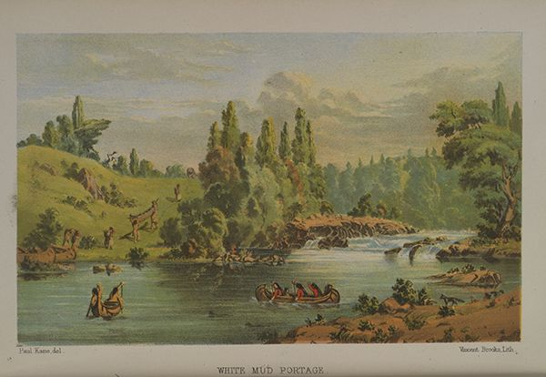 """Paul Kane's book """"Wanderings of an Artist"""" is a hybrid, a travelogue that includes detailed ethnographic descriptions as well as accounts of events he did not directly experience. """"White Mud Portage,"""" 1859, chromolithograph from Kane's book."""