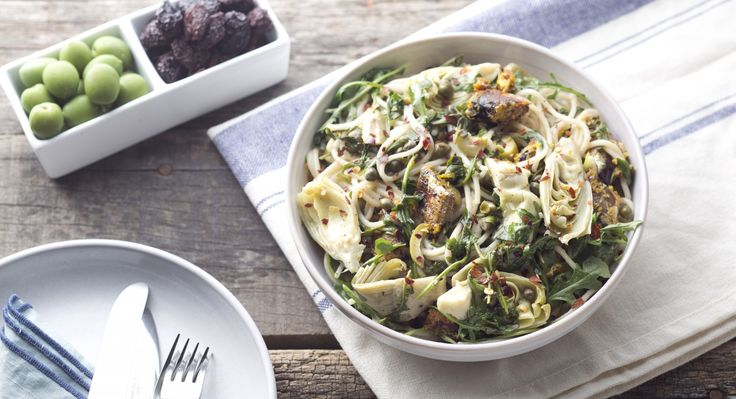 Gluten-Free Spaghetti with Sardines, Arugula, and Artichokes (sub zucchini noodles for spaghetti, garlic oil for the garlic, and use less artichokes or omit them entirely)