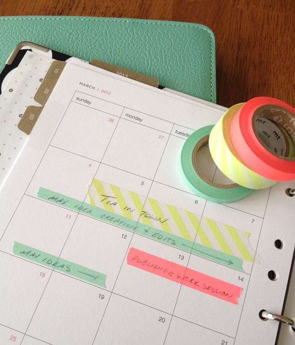 possibly the best planner idea i have ever seen... Use different colored tape to make things easier to read :)Day Planners, Calendar Organic, Masks Tape, Washi Tape, Diy, Planners Organic, Planners Ideas, Washitape, Colors Tape