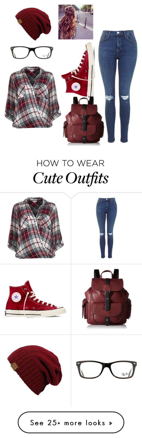 """Cute Fall Outfit"" by wubz-1 on Polyvore featuring moda, River Island, Converse, Kenneth Cole Reaction ve Ray-Ban"