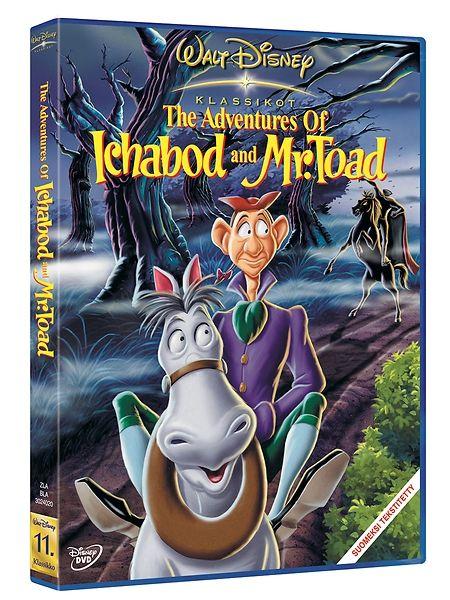 The Adventures of Ichabod and Mr. Toad -dvd. Koe unohtumattomia seikkailuja herra Rupikonnan ja Iisoppi Kurkisen matkassa! Sisältää tarinat Kaislikossa suhisee ja Päätön ratsumies.
