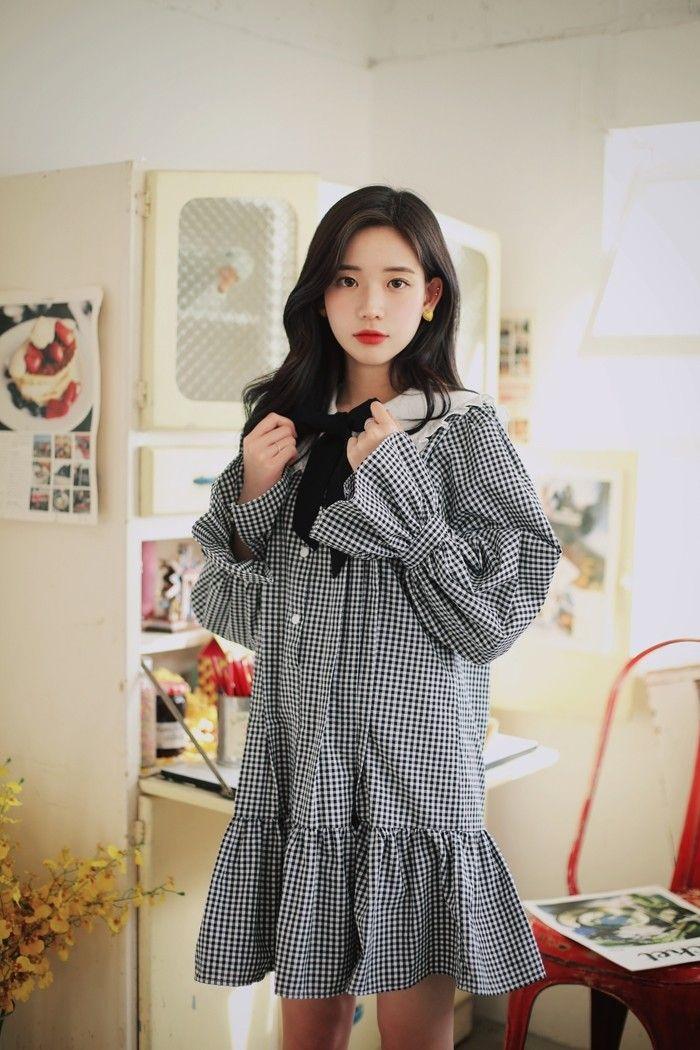 Korean Fashion Gingham Dress Oliwiasierotnik Pakaian Model