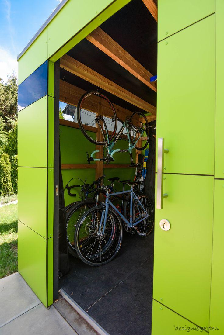 design gartenhaus / Fahrradhaus  @_gart drei | lime green | niemals streichen | München - Germany | design garden shed by design@garten #Gartenhaus #HPL #Gerätehaus