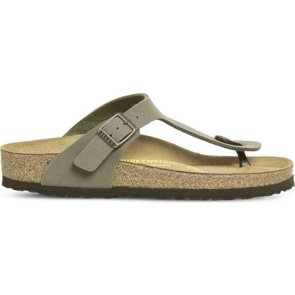 Birkenstock Toe thong faux-leather sandals ($65) ❤ liked on Polyvore featuring shoes, sandals, toe thong sandals, special occasion sandals, toe post sandals, birkenstock shoes and special occasion shoes