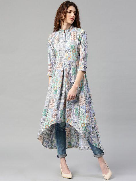 Multicoloured printed A-line kurta, has a mandarin collar, three-quarter sleeves, curved high-low hem #highlow #printed @looksgud