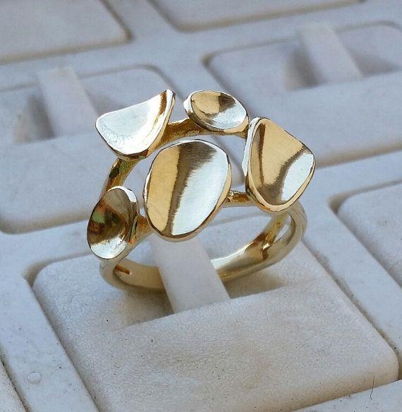 Ring 14K geel goud Handgemaakte Artisan Crafted door TalyaDesign