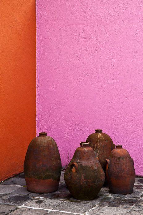 Casa Prieto Lopez, El Pedregal, Mexico City designer: Luis Barragan #orange #pink