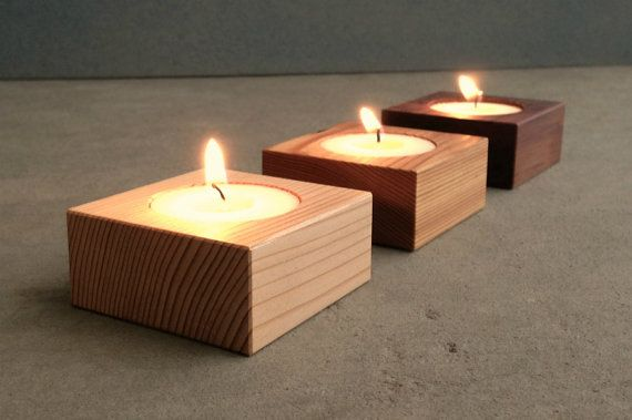 Recycled modern wood candle holders, simple and soft, come with tea lights and a natural hand-rubbed linseed oil finish. Delicate cedar and