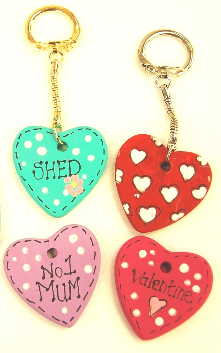 Ceramic keyrings using our heart pendants.  Personalise with your own design. countrylovecrafts.com