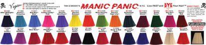 Manic Panic's vivid hair color chart