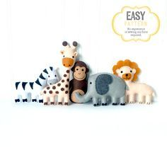 Mini Jungle Animal Sewing Patterns Zoo von LittleSoftieShoppe                                                                                                                                                                                 Mehr