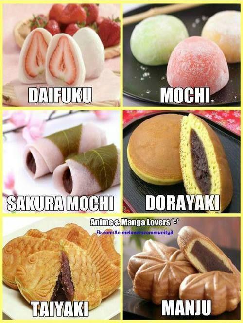 daifuku, mochi, sakura mochi, dorayaki, taiyaki, manju