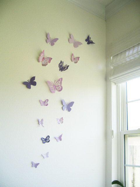 16 3D Wall Butterflies, Purple, Violet, Lavender, Butterfly, Paper, Wall Decor,3D, Wedding Decor, Baby Shower, Girls Room, Cardstock