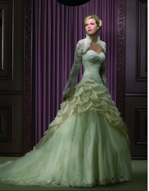 2012 Style A Line Straps Beading Long Sleeves Sweep Brush Train Lace Wedding Dresses For Brides Very Interesting