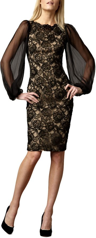 $206, Sheer Sleeve Lace Cocktail Dress by Tadashi Shoji. Sold by Neiman Marcus. Click for more info: http://lookastic.com/women/shop_items/90609/redirect