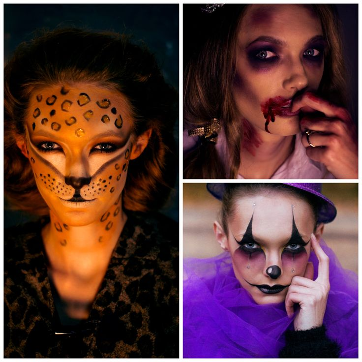 Halloween ideas #halloween #tiger #bride #clown #makeup