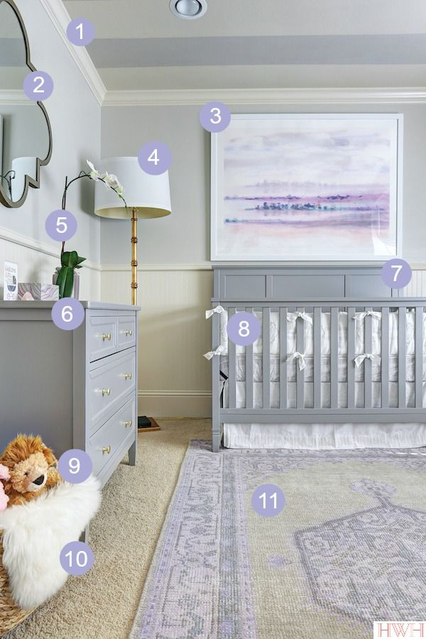 Baby Girl's Lavender Nursery with detailed source list- you won't believe where the crib and dresser are from!  | Honey We're Home