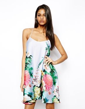 Image 1 of True Decadence Satin Cami Dress in Tropical Floral
