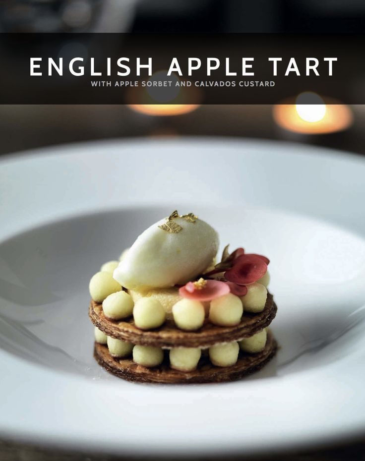 Wow your guests with these beautiful individual English Apple Tarts, garnished with Apple Sorbet and Calvados Custard #madeinmyMiele