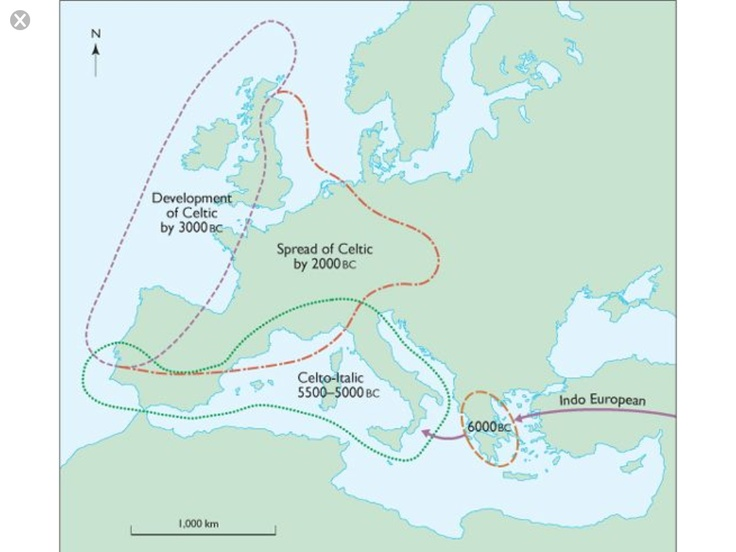 7.5 A model to suggest the stages that may have been involved in the development and spread of the Celtic languages following the establishment of Indo-European in south-eastern Europe in the seventh millenium. According to this hypothesis Indo-European was introduced into the central and western Meditteranean with the spread of the Impressed Ware Neolithic and subsequently developed into Celtic as a lingua franca in the Atlantic zone.: Hypothesi Indo European, Iberian Dna, Indo European Study, Irish Language, Impressions Ware, South Eastern Europe, Celtic Language, France Dna, Ware Neolith