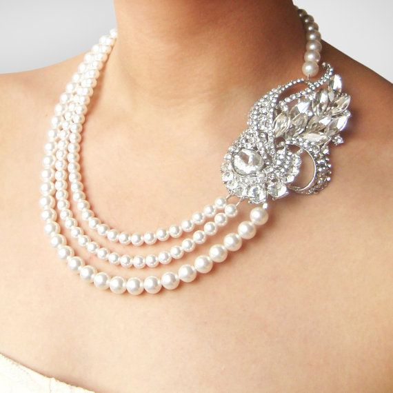 Art Deco Wedding Necklace Statement Bridal Necklace by luxedeluxe