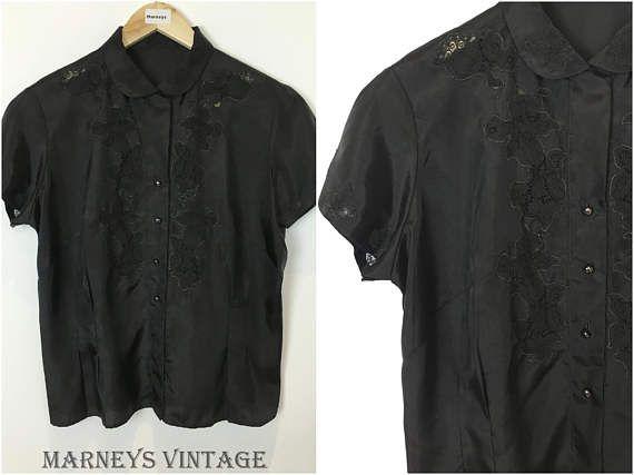 Vintage 1930s Top - 30s Black Nylon Taffeta Blouse - Lace Inserts Applique - Peter Pan collar -UK 16/18 -  Large/X Large -