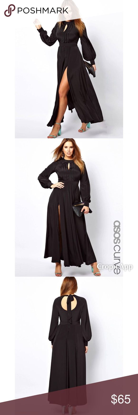 ASOS Curve Maxi Dress With Bell Sleeve - Black ASOS Curve Maxi Dress With Bell Sleeve - Black / US 16 - like new.                                                                PLUS SIZE DRESS by ASOS CURVE -	Made from a soft poly fabric -	Crew neckline with cut out detail -	Pleat detail to the chest -	Self-tie closure to the back -	Fitted band under the bust -	Bell sleeves with fitted button cuffs -	Pleated fluid skirt -	Thigh splits -	Regular fit…