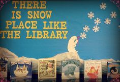 Winter library bulletin board- snow. Elementary school library bulletin board idea.