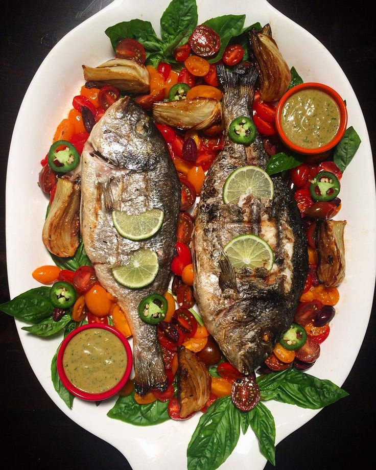 Yummy! If anyone wants my opinion, this was delicious! Grilled Seabream, with a charred jalapeño basil vinaigrette, roasted fennel, tomatoes and olives. @zimmysnook