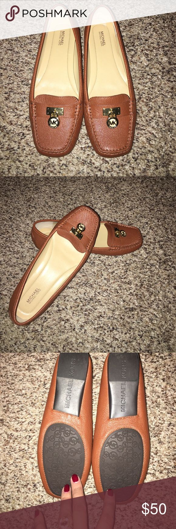 Michael Kors Flats Camel Color Leather Women's 8 Michael Kors Flats Camel Color Leather Women's Size 8. ADORABLE, bought them and wore them for 4 hours but they are just a tad too tight and of course I can not return them or exchange them once worn. They are in perfect condition. Smoke free home and gently stored. MICHAEL Michael Kors Shoes Flats & Loafers