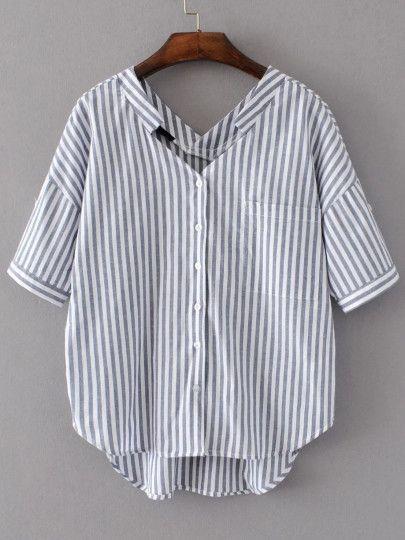 Blusa asimétrica de rayas verticales con doble cuello en V - blanco gris