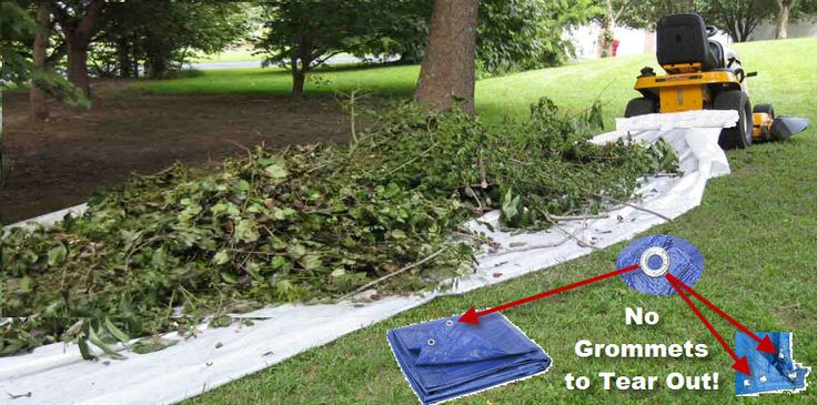 move or pull all your leaves, mulch, tree branches, limbs, and bush trimmings with a tarp by using the tarp tow system that easily attaches to your riding lawn mower or zero turn riding lawn mower.