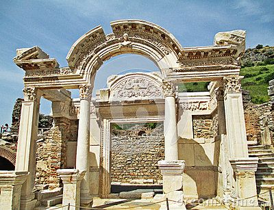 The Temple of Hadrian at the ruins of the ancient city of Ephesus in Izmir, Turkey.