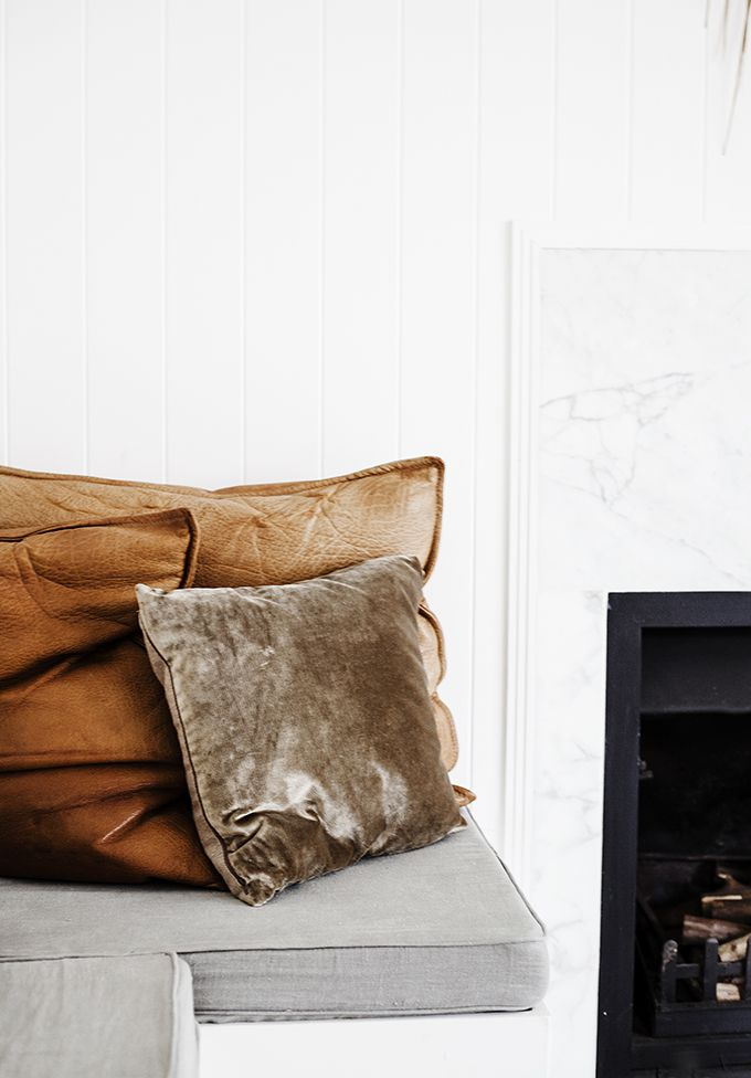 buttery tan leather cushions with velvet u0026 linen home u0026 photo by kara rosenlund